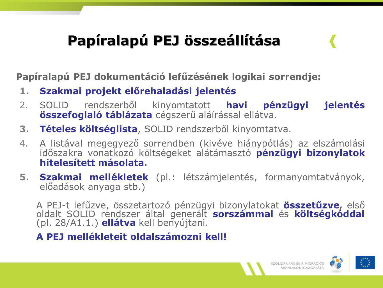 Papíralapú PEJ összeállítása
