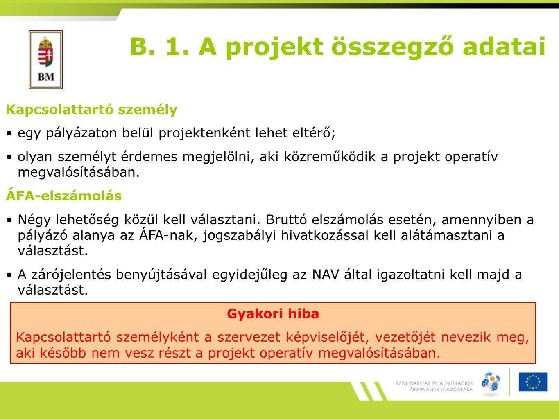 B. 1. A projekt összegző adatai