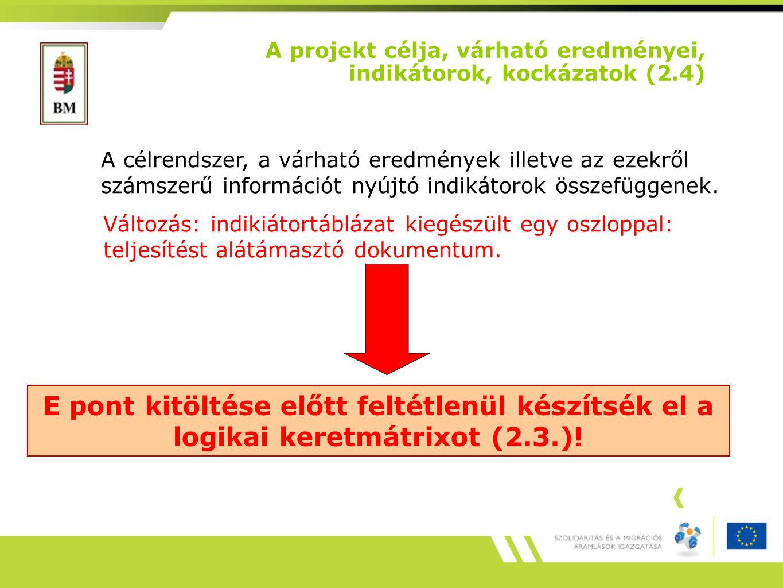 A projekt célja, várható eredményei, indikátorok, kockázatok (2.4)
