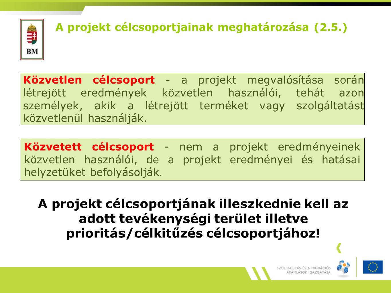 A projekt célcsoportjainak meghatározása (2.5.)