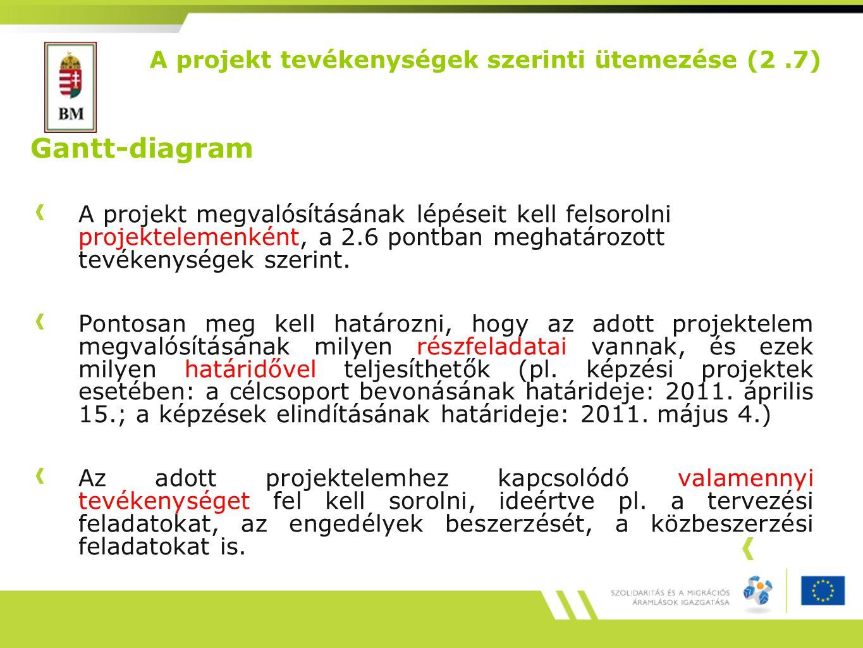 A projekt tevékenységek szerinti ütemezése (2 .7)