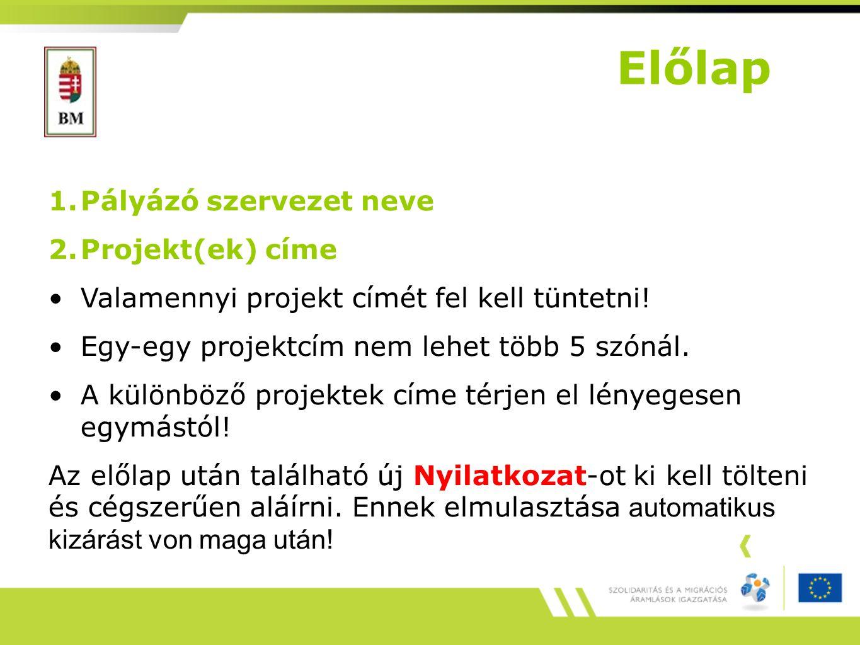 Előlap Pályázó szervezet neve Projekt(ek) címe
