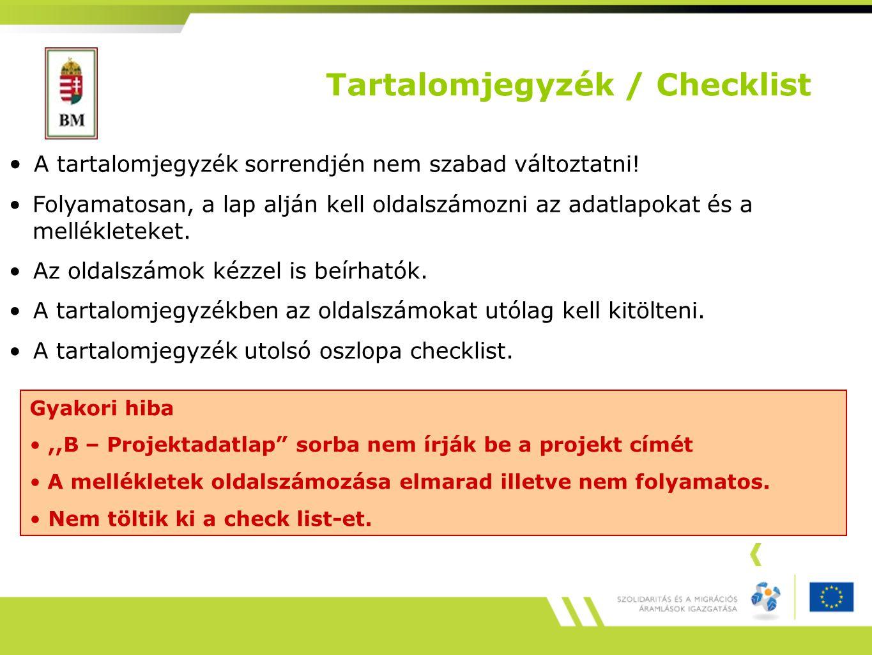Tartalomjegyzék / Checklist