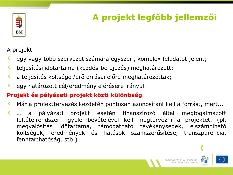 A projekt legfőbb jellemzői