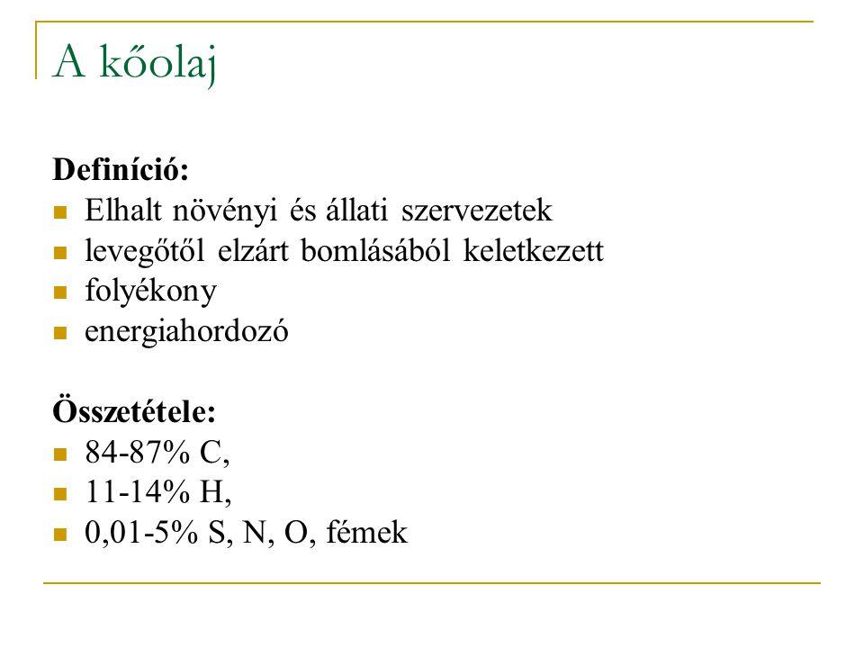 A kőolaj Definíció: Elhalt növényi és állati szervezetek