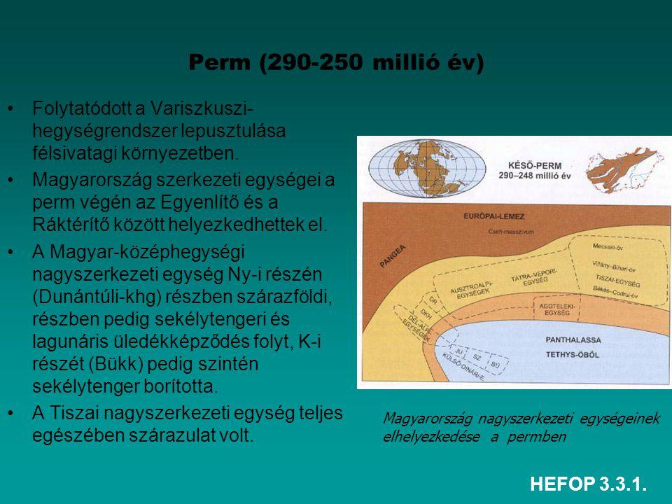Perm (290-250 millió év) Folytatódott a Variszkuszi-hegységrendszer lepusztulása félsivatagi környezetben.
