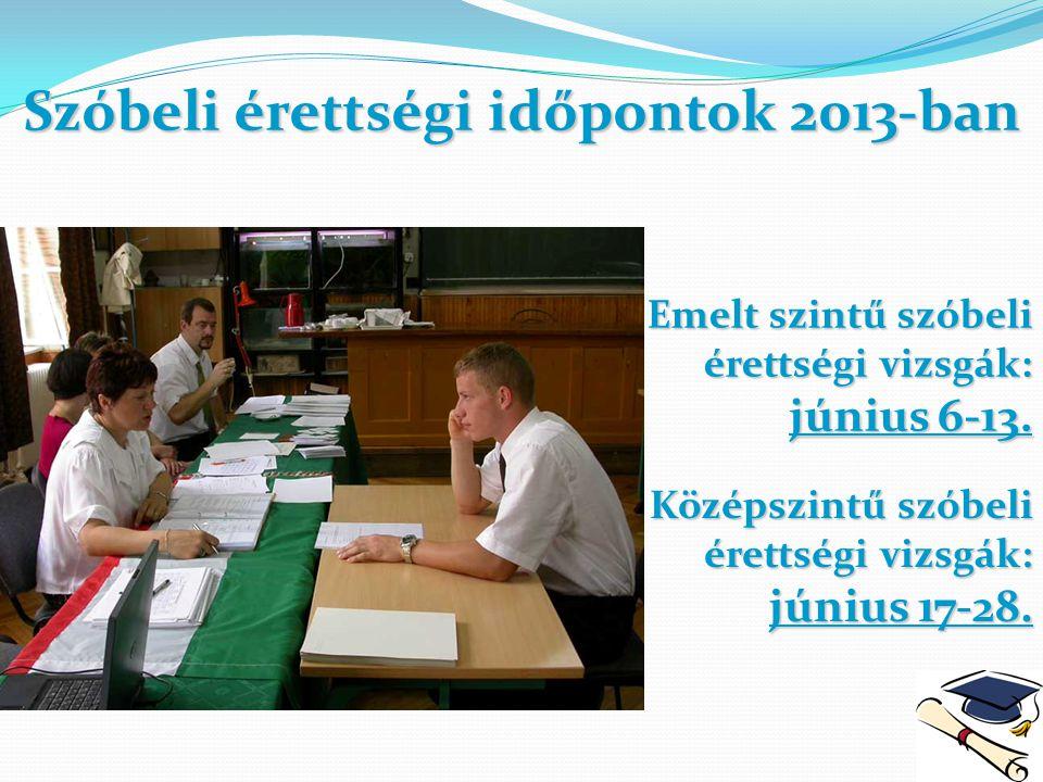Szóbeli érettségi időpontok 2013-ban
