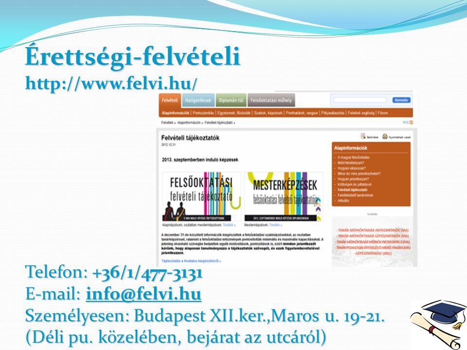 Érettségi-felvételi http://www.felvi.hu/