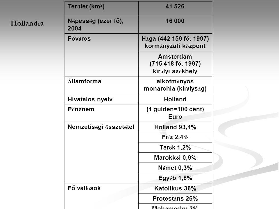 Hollandia Terület (km2) 41 526 Népesség (ezer fő), 2004 16 000 Főváros