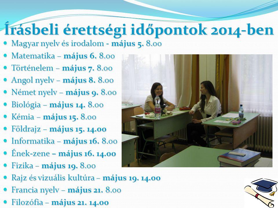 Írásbeli érettségi időpontok 2014-ben