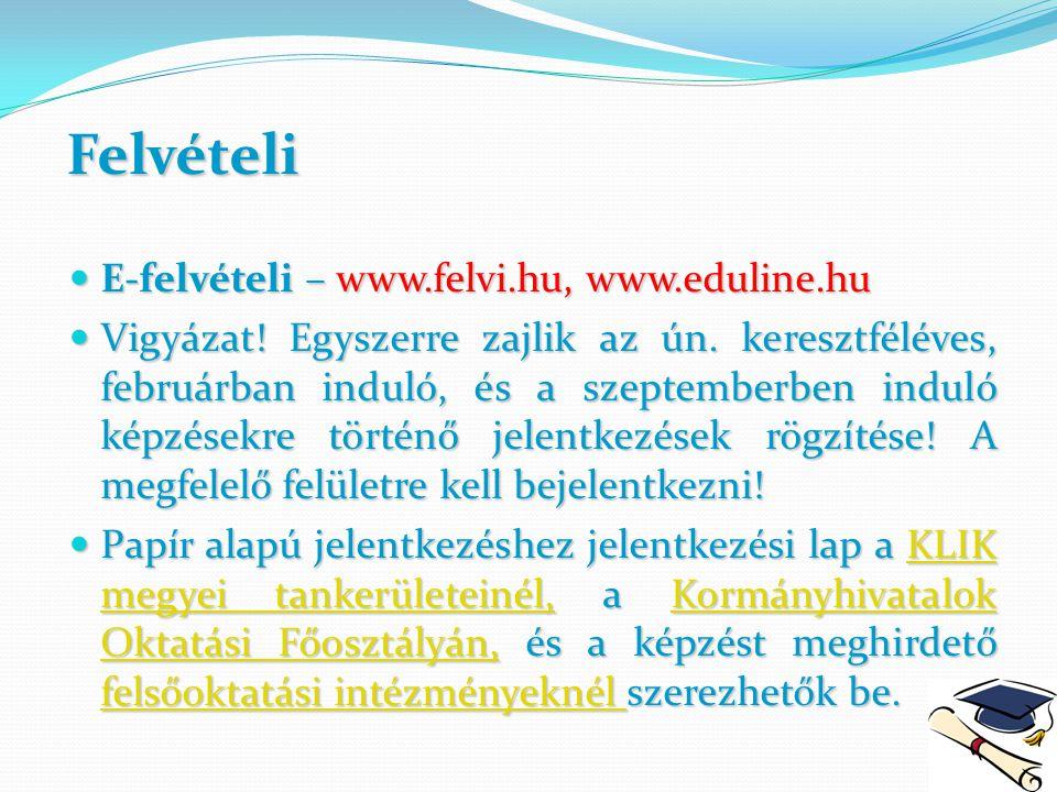 Felvételi E-felvételi – www.felvi.hu, www.eduline.hu