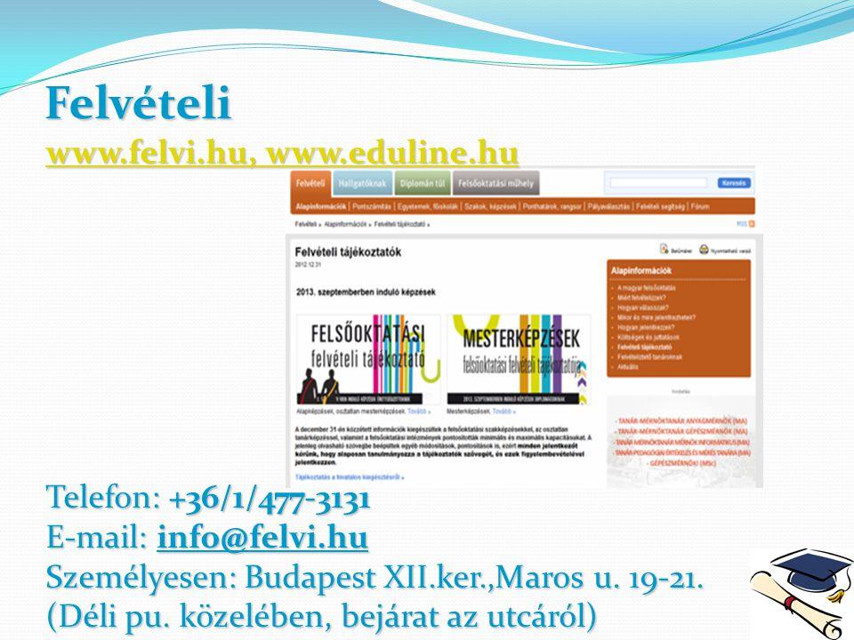 Felvételi www.felvi.hu, www.eduline.hu