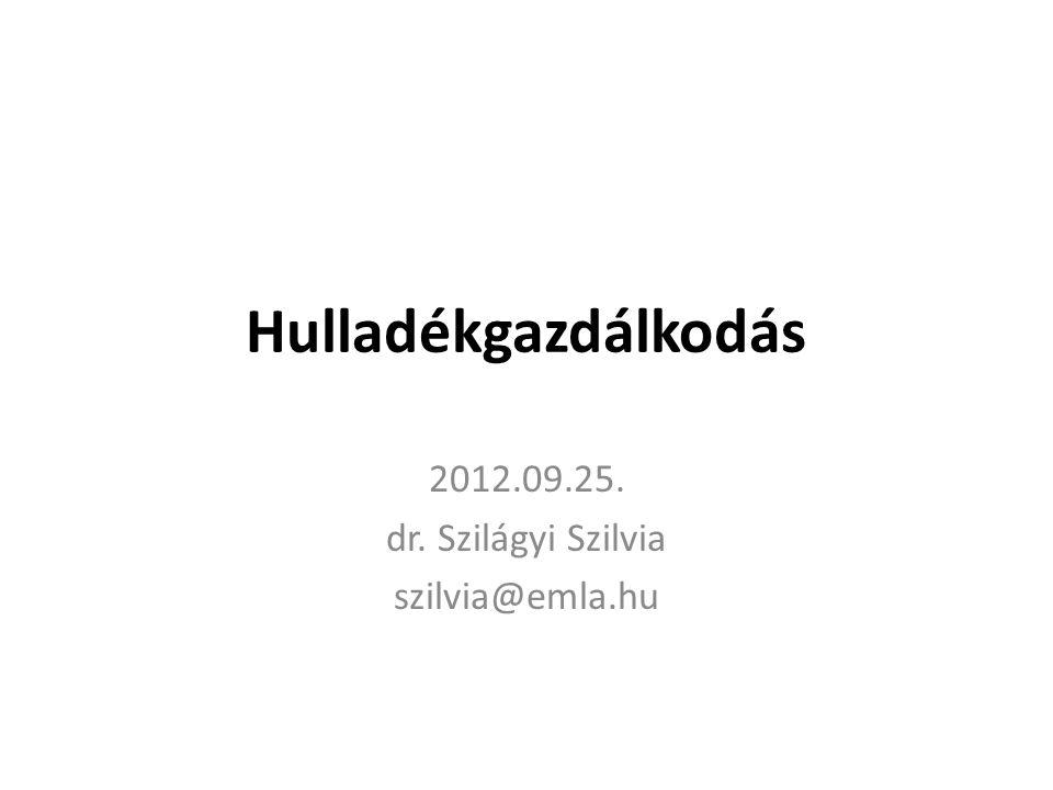 2012.09.25. dr. Szilágyi Szilvia szilvia@emla.hu