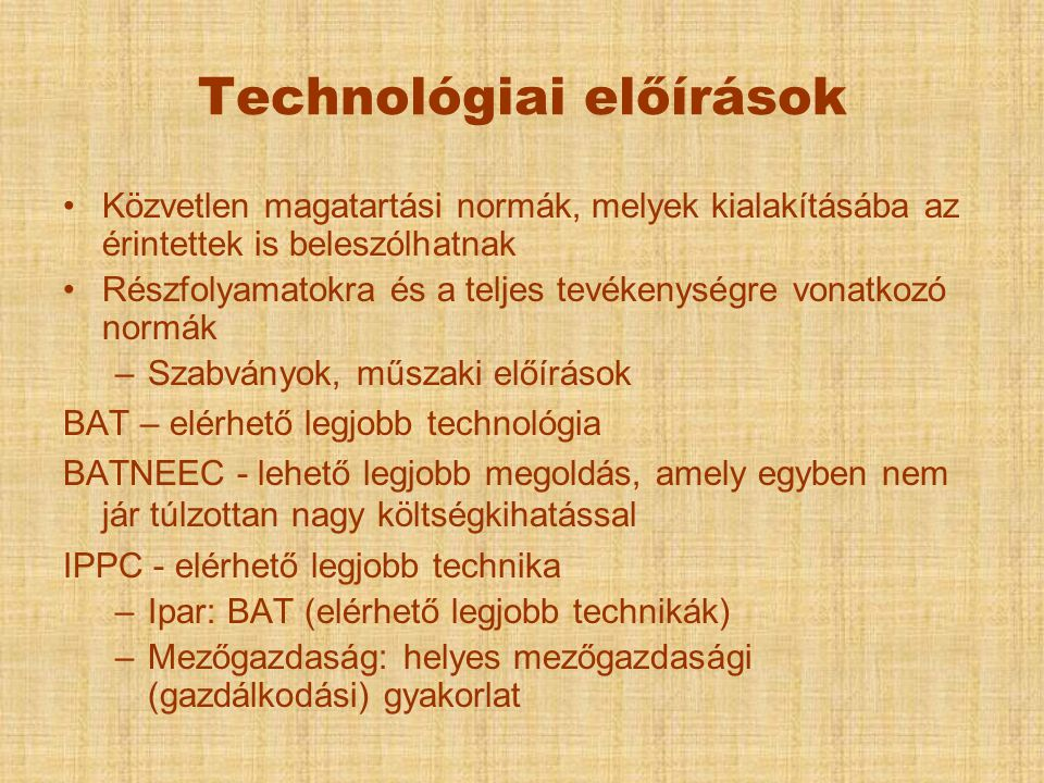 Technológiai előírások