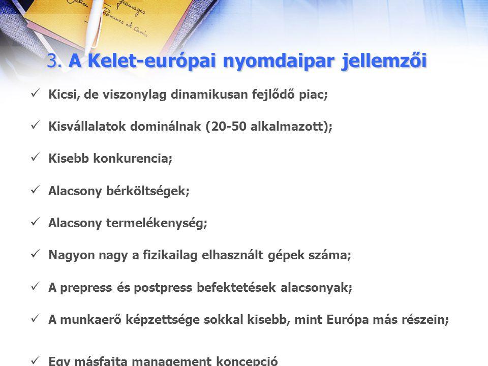 3. A Kelet-európai nyomdaipar jellemzői