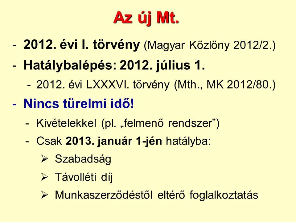 Az új Mt. 2012. évi I. törvény (Magyar Közlöny 2012/2.)