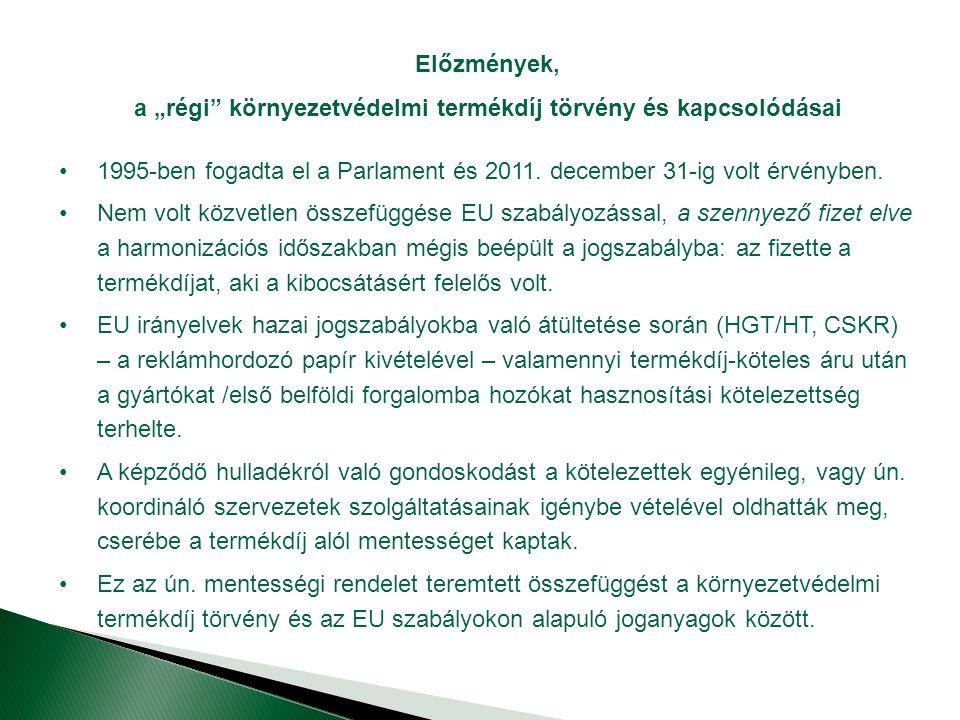 """a """"régi környezetvédelmi termékdíj törvény és kapcsolódásai"""