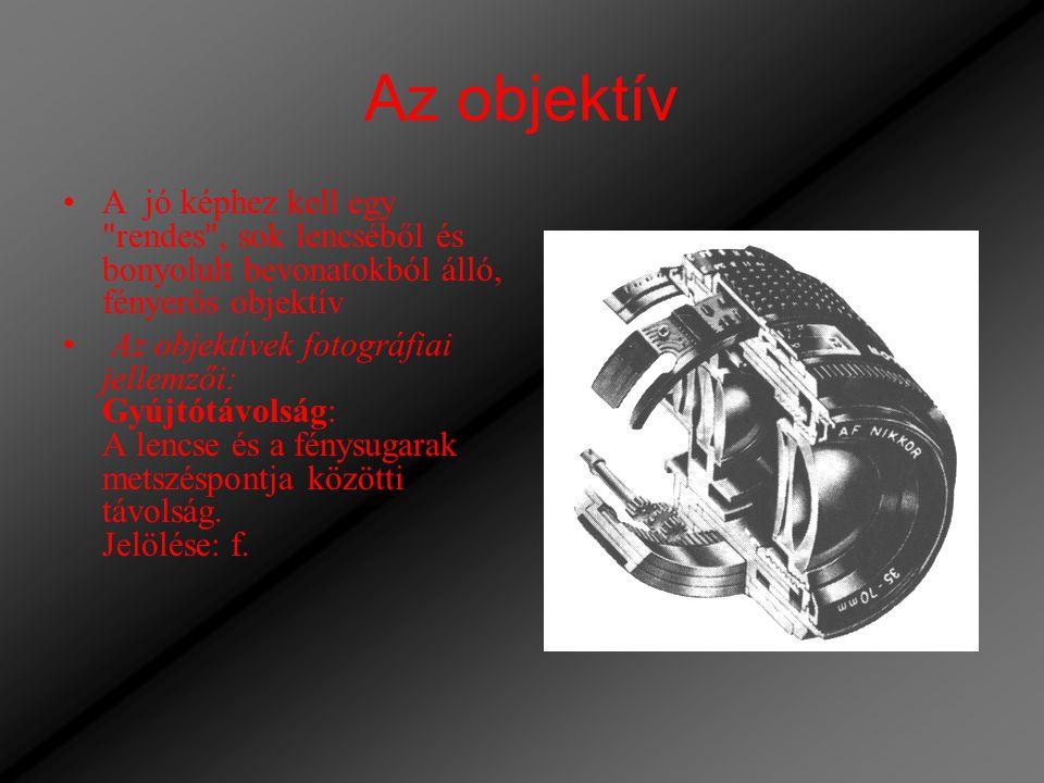 Az objektív A jó képhez kell egy rendes , sok lencséből és bonyolult bevonatokból álló, fényerős objektív.
