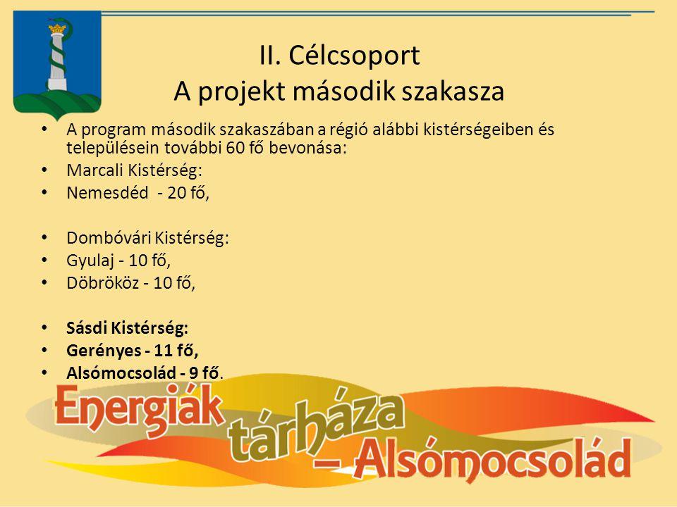 II. Célcsoport A projekt második szakasza