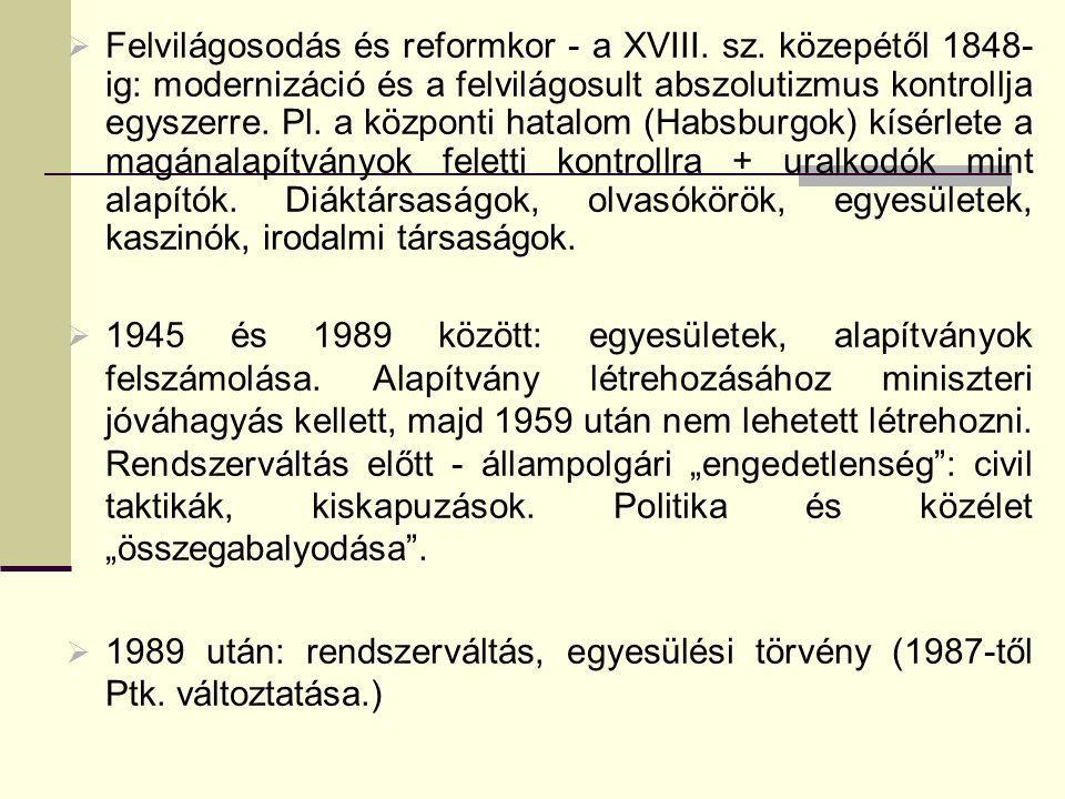 Felvilágosodás és reformkor - a XVIII. sz