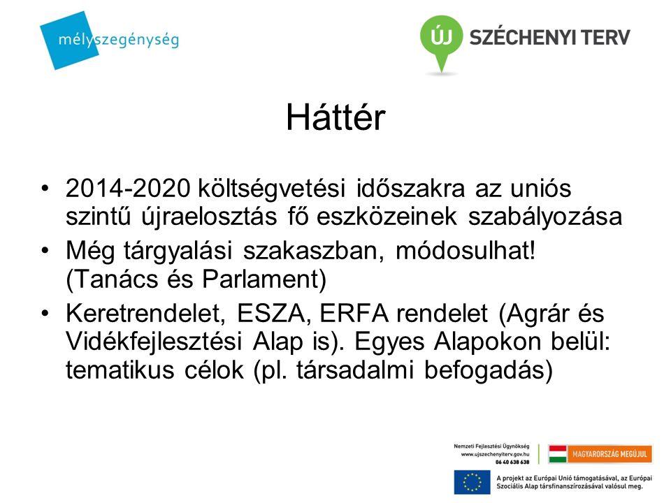 Háttér 2014-2020 költségvetési időszakra az uniós szintű újraelosztás fő eszközeinek szabályozása.