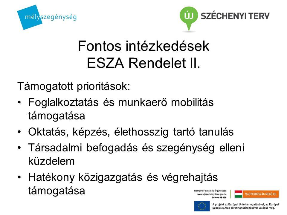 Fontos intézkedések ESZA Rendelet II.