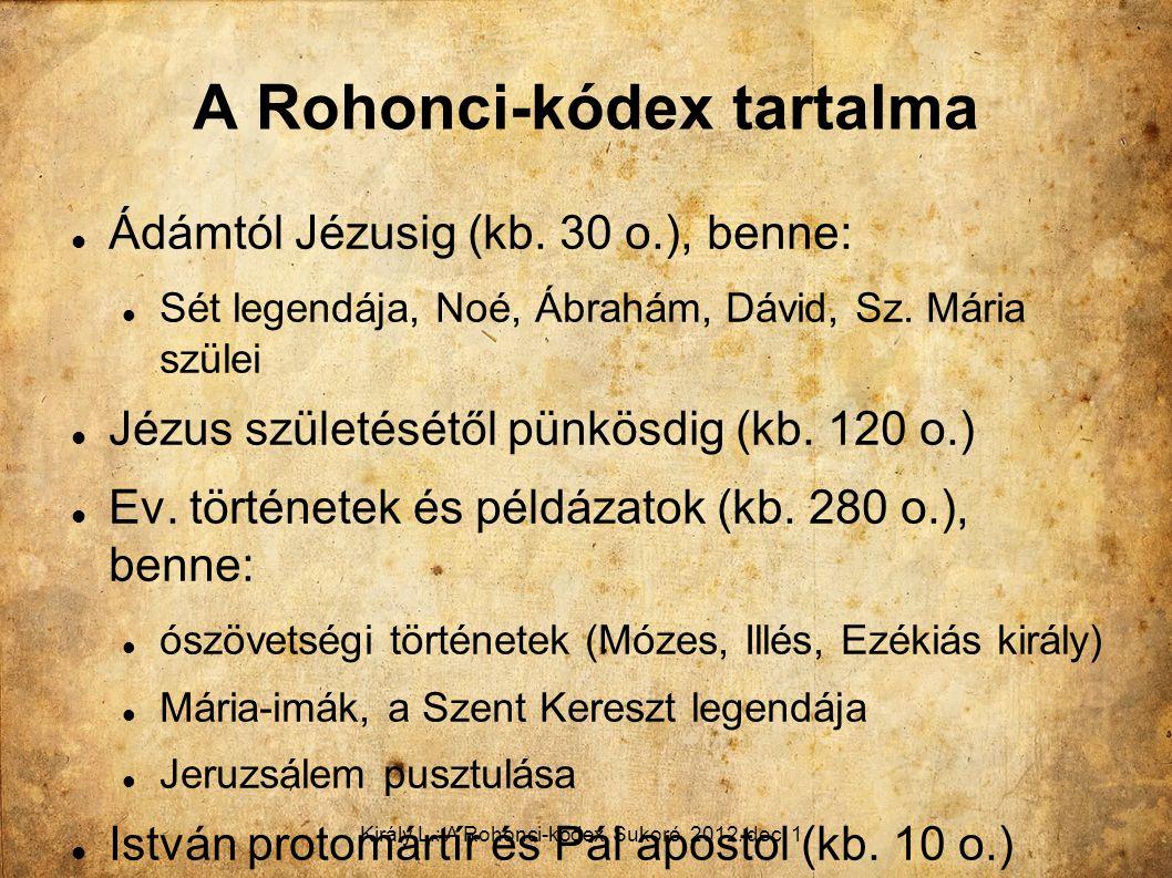 A Rohonci-kódex tartalma