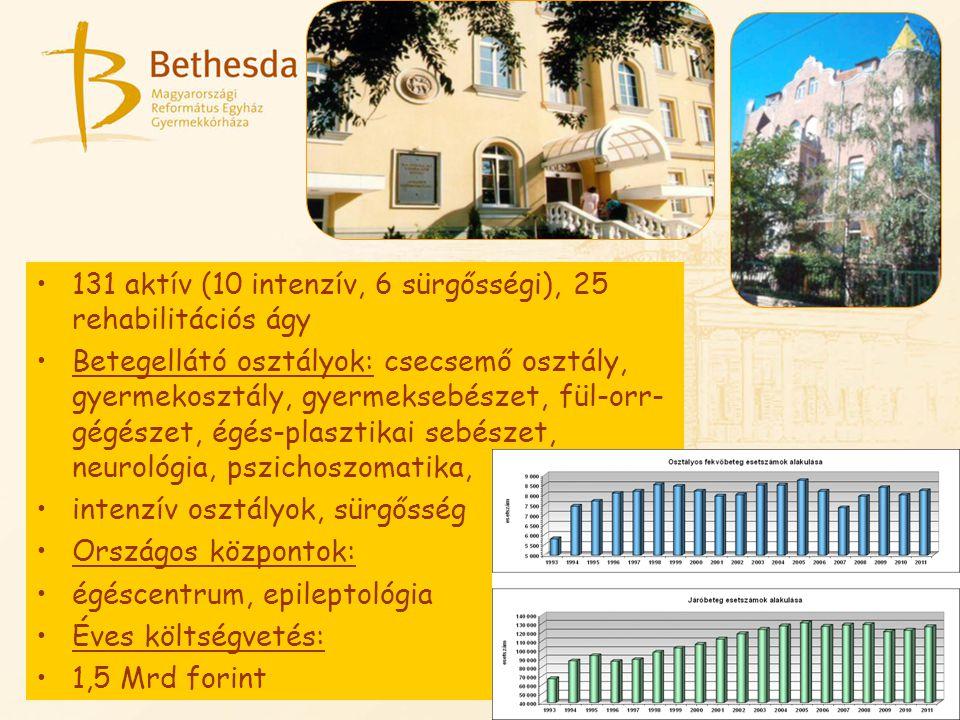 131 aktív (10 intenzív, 6 sürgősségi), 25 rehabilitációs ágy