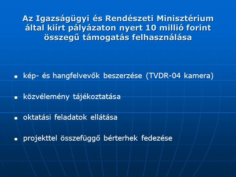 Az Igazságügyi és Rendészeti Minisztérium által kiírt pályázaton nyert 10 millió forint összegű támogatás felhasználása