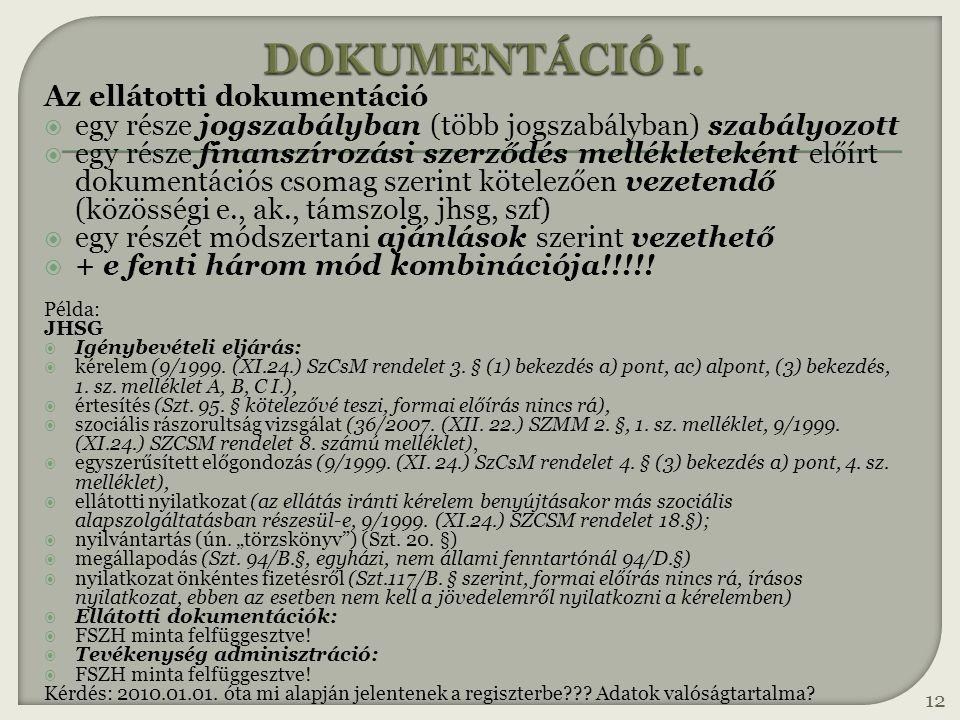 DOKUMENTÁCIÓ I. Az ellátotti dokumentáció