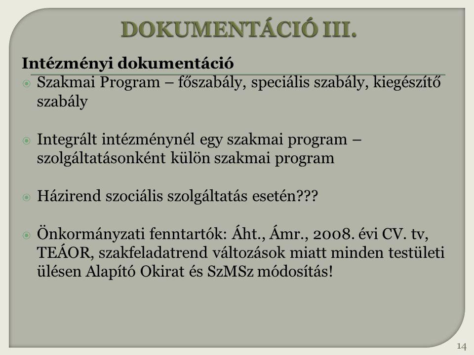 DOKUMENTÁCIÓ III. Intézményi dokumentáció