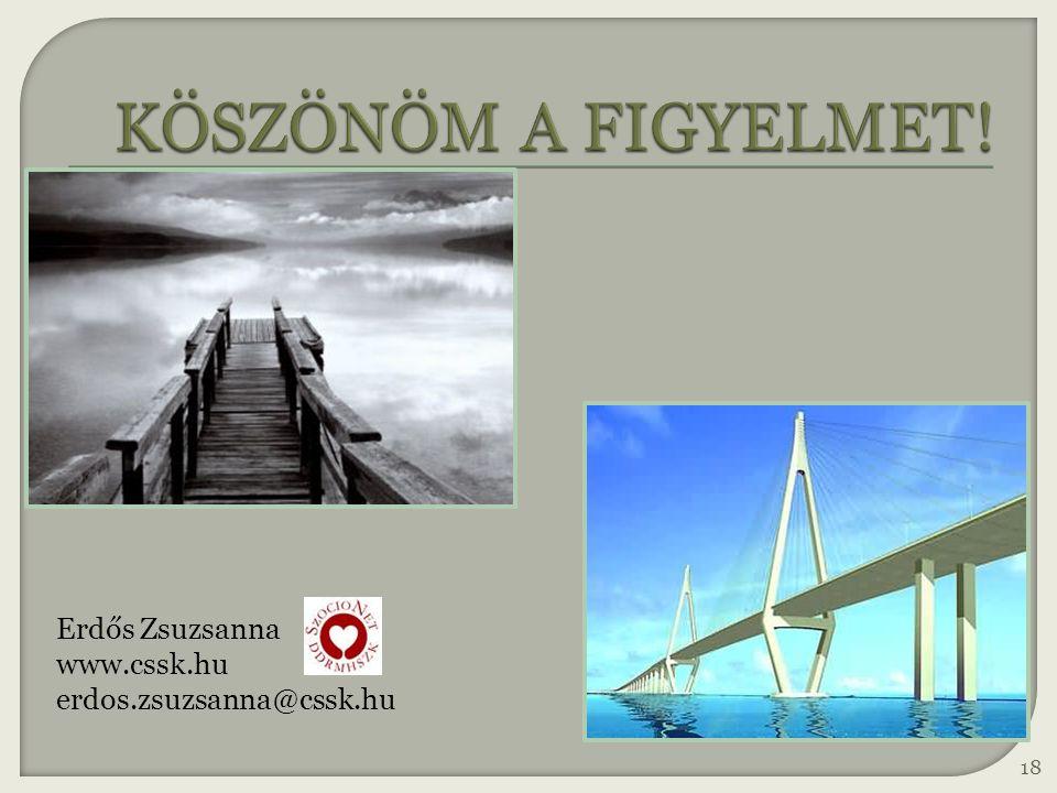 KÖSZÖNÖM A FIGYELMET! Erdős Zsuzsanna www.cssk.hu