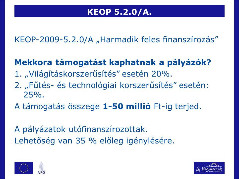 """KEOP 5.2.0/A. KEOP-2009-5.2.0/A """"Harmadik feles finanszírozás Mekkora támogatást kaphatnak a pályázók"""