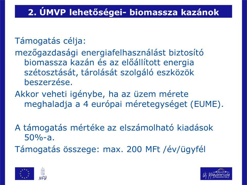 2. ÚMVP lehetőségei- biomassza kazánok