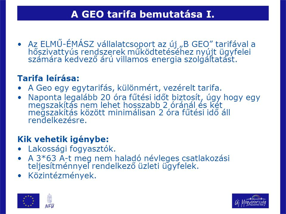 A GEO tarifa bemutatása I.
