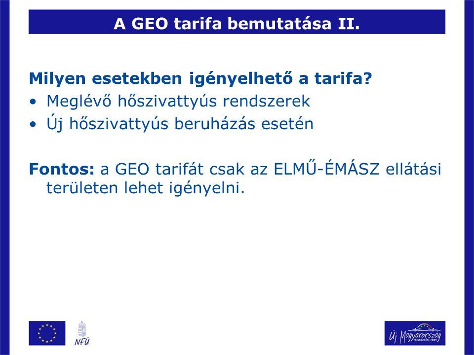 A GEO tarifa bemutatása II.