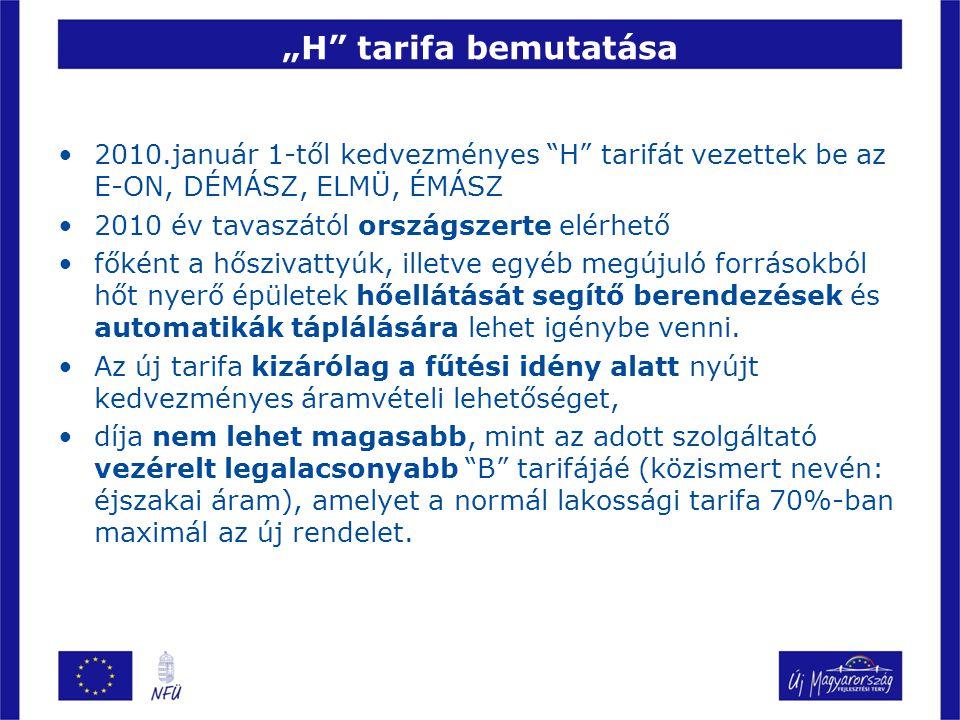 """""""H tarifa bemutatása 2010.január 1-től kedvezményes H tarifát vezettek be az E-ON, DÉMÁSZ, ELMÜ, ÉMÁSZ."""