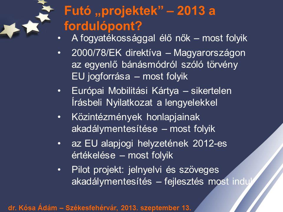 """Futó """"projektek – 2013 a fordulópont"""