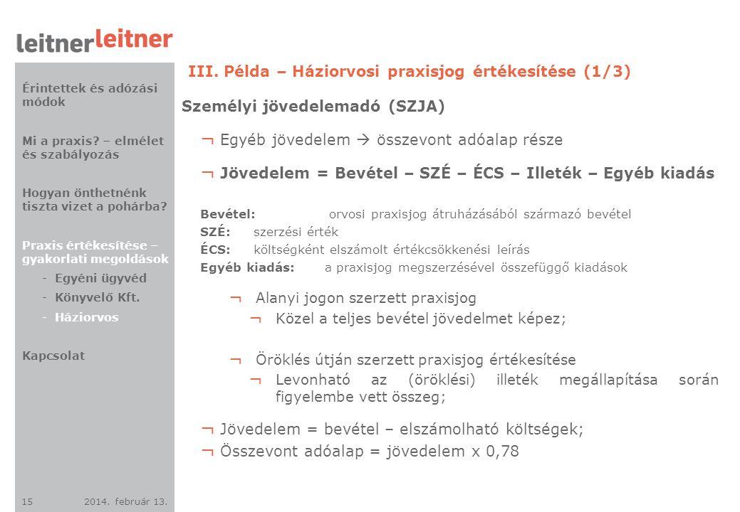 III. Példa – Háziorvosi praxisjog értékesítése (1/3)