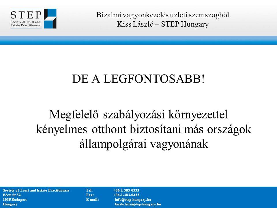 Bizalmi vagyonkezelés üzleti szemszögből Kiss László – STEP Hungary