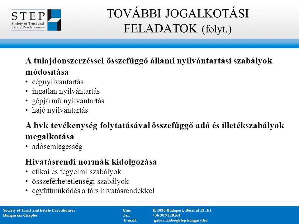 TOVÁBBI JOGALKOTÁSI FELADATOK (folyt.)