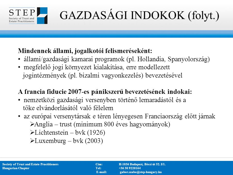 GAZDASÁGI INDOKOK (folyt.)