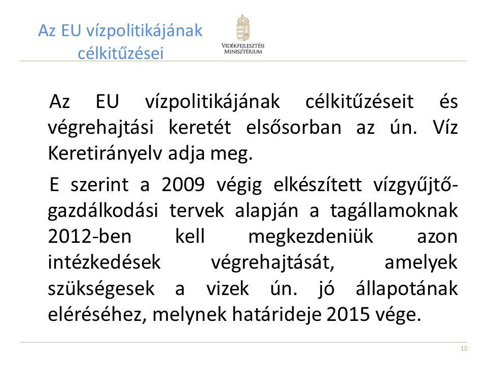 Az EU vízpolitikájának célkitűzései
