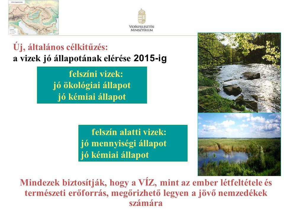 felszíni vizek: jó ökológiai állapot jó kémiai állapot