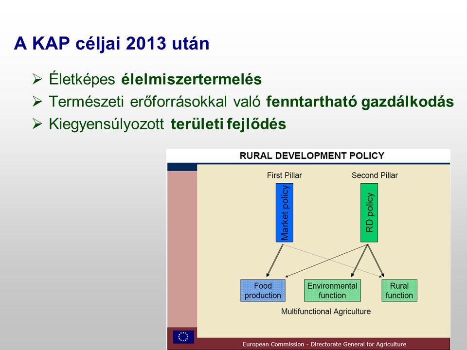 A KAP céljai 2013 után Életképes élelmiszertermelés
