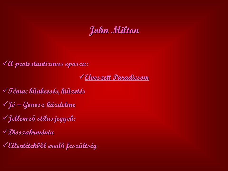 John Milton A protestantizmus eposza: Elveszett Paradicsom