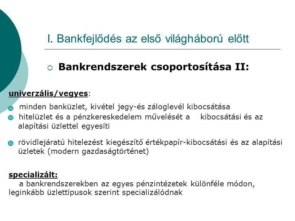I. Bankfejlődés az első világháború előtt