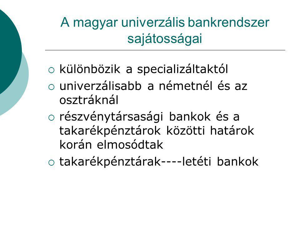 A magyar univerzális bankrendszer sajátosságai
