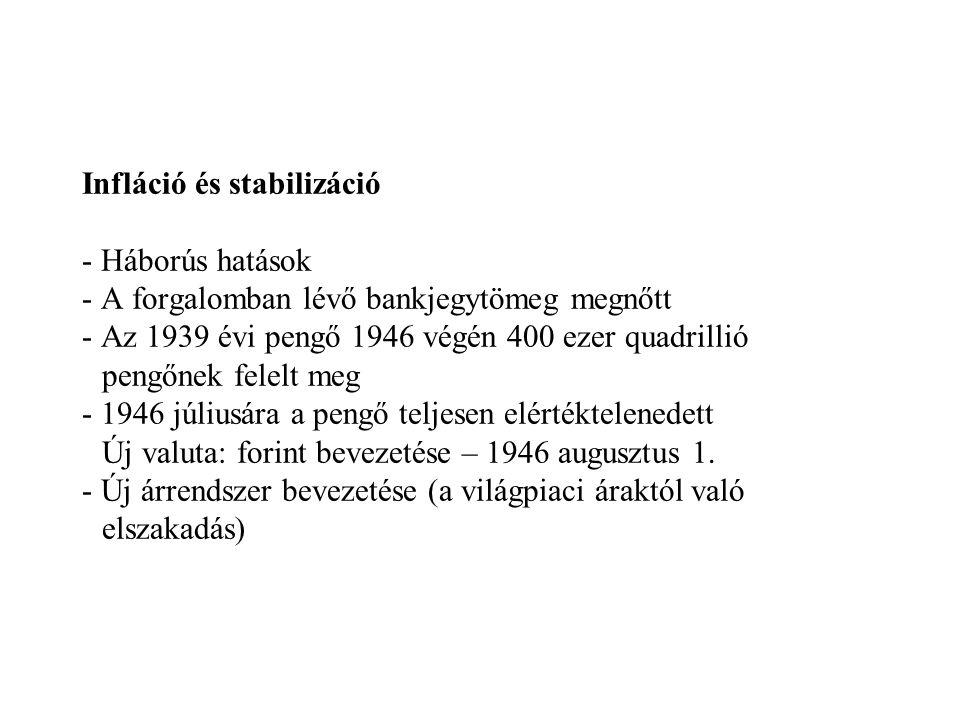 Infláció és stabilizáció - Háborús hatások - A forgalomban lévő bankjegytömeg megnőtt - Az 1939 évi pengő 1946 végén 400 ezer quadrillió pengőnek felelt meg - 1946 júliusára a pengő teljesen elértéktelenedett Új valuta: forint bevezetése – 1946 augusztus 1.