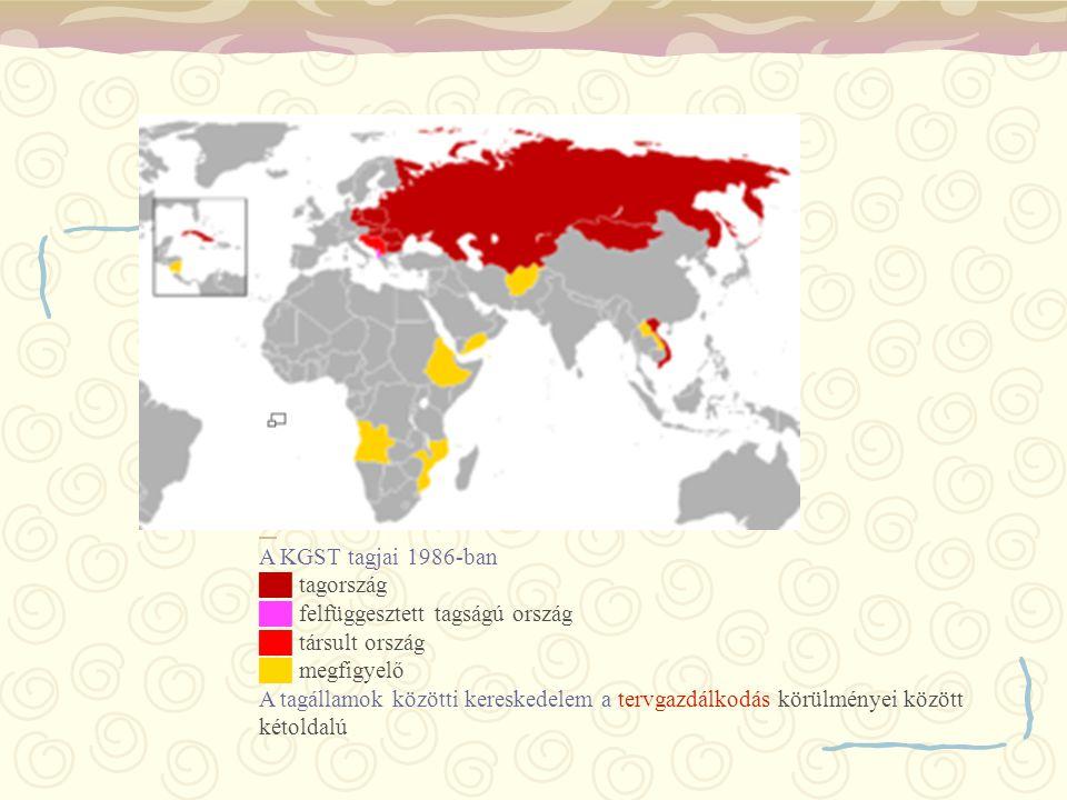 A KGST tagjai 1986-ban ██ tagország ██ felfüggesztett tagságú ország